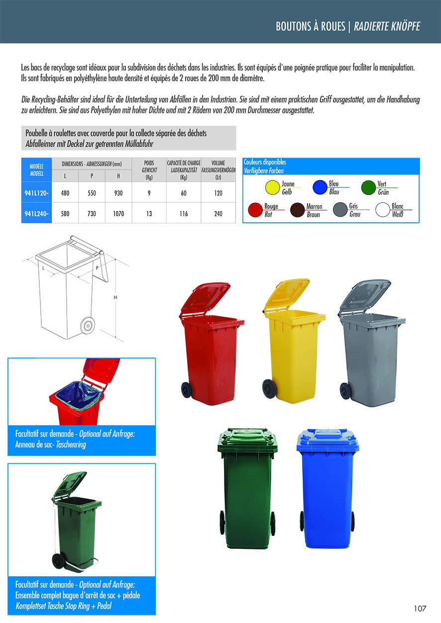 Abfalleimer mit Deckel zur getrennten Müllabfuhr