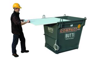 Contenitore a fondo apribile Compact con coperchio sfilabile sfridi rifiuti rottami volume 1000 Butti