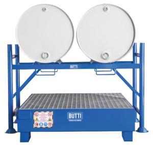 Ondersteuning voor de opslag van twee vaten horizontaal met opvangtank Butti