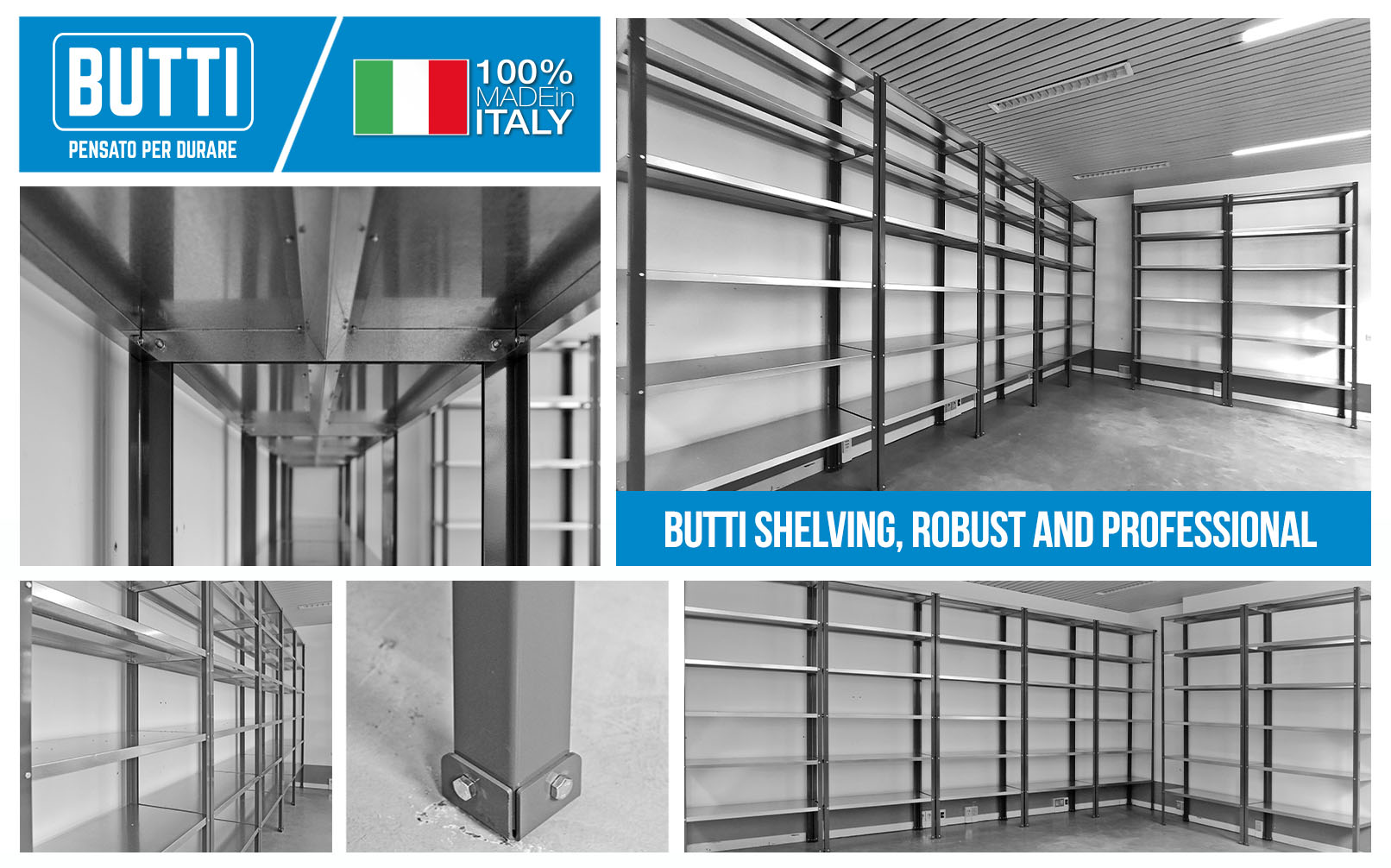 BUTTI SHELVING, ROBUST AND PROFESSIONAL