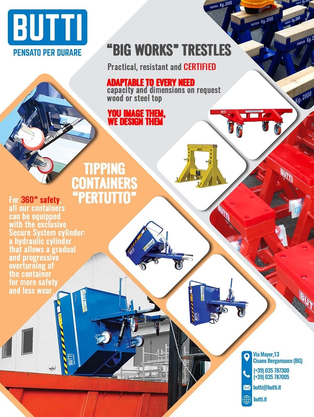 Trestles and tipping containers Butti